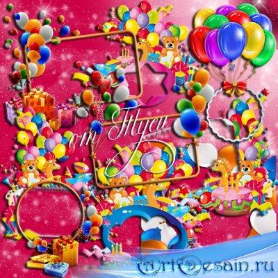 Набор детских рамок-вырезов на день рождения