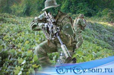 Шаблон psd мужской - Спецназ с оружием
