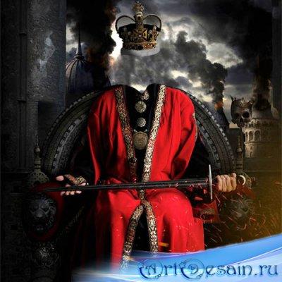 Шаблон psd мужской - Жестокий король с мечом