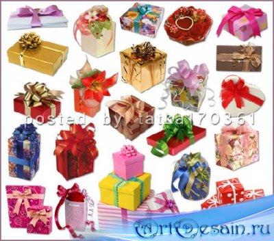 Клипарт для фотошопа - Подарочные коробки с бантами