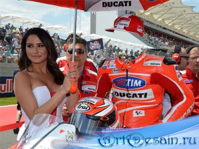 Шаблон psd мужской - Мировой гонщик на спортивном мотоцикле