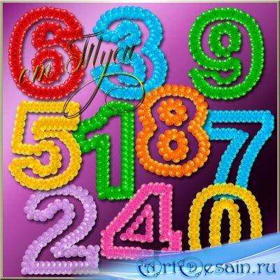 Клипарт - Разноцветные цифры