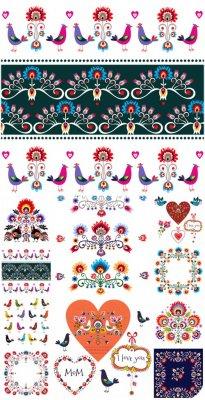 Цветы, птицы, цветочные орнаменты в векторе / Flowers, birds, floral orname ...
