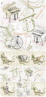 Музыкальные фоны в векторе, музыкальные инструменты / Musical backgrounds v ...