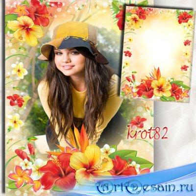 Цветочная фоторамка для девушек – Гавайские цветы