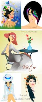 Образы девушек с цветами в  Векторе