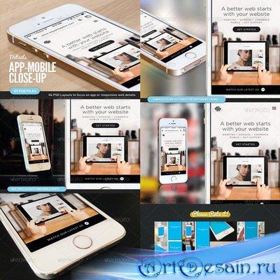 PSD - App UI Close-Up Mock-Up 5s White - 7677542