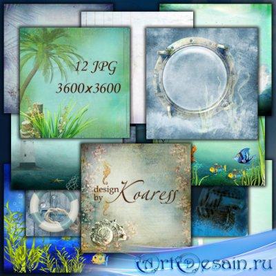 Набор морских фонов - Волны, пальмы, морское дно
