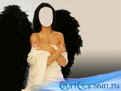 Шаблон psd - Ангел с темными крыльями