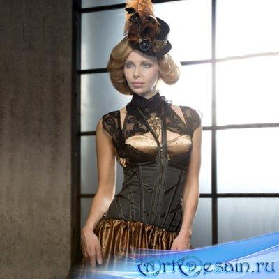 Шаблон для фотошопа - Девушка в красивом платье и шляпке