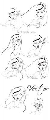 Романтичные образы девушек в векторе