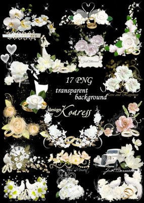 Набор свадебных png кластеров для дизайна - Розы, голуби, любовь