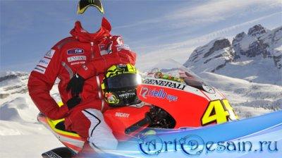 Шаблон для Photoshop - Горный отдых на снежном мотоцикле