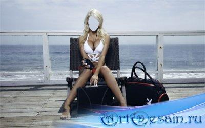 Шаблон женский - Блондинка с плейбой на террасе