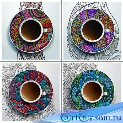 Этнические украшения с узорами и чашки с кофе в векторе