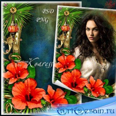 Женская романтическая фоторамка - Тропический цветок