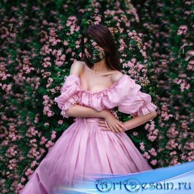 Женский шаблон - В пышном платье среди цветов