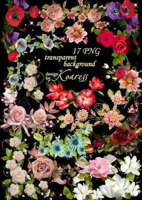 Набор цветочных кластеров и уголков - Такие разные цветы