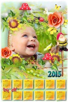 Летний календарь - рамка  на 2014 - 2015 год