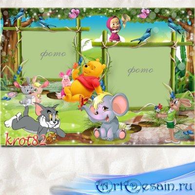 Детская фоторамка с героями мультфильмов – Искушение волшебного леса