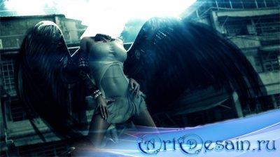 Шаблон psd женский - С большими черными крыльями
