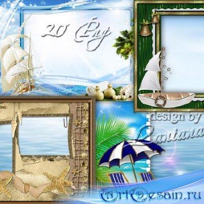 Летние рамочки - Море, яхты словно чайки, белый теплоход