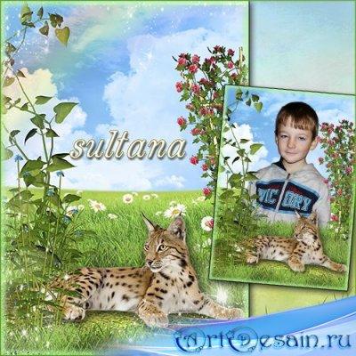 Детская рамка для фотошопа - Леопард на лужайке