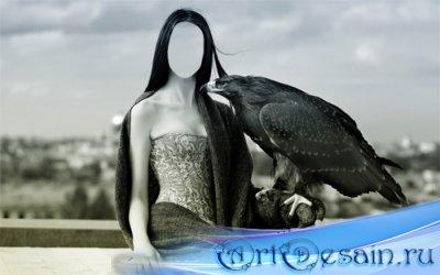 Шаблон для Photoshop - Девушка с орлом