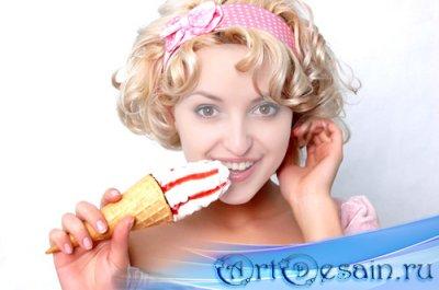 Шаблон женский - Блондинка с вкусным мороженком