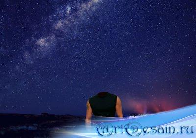 PSD шаблон для мужчин - Звездное небо