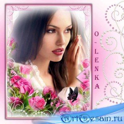 Рамка для фотошопа - Розовые розы, как рассвет