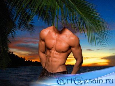 Шаблон для фотошопа  - Мужчина у моря