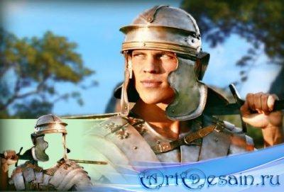 Многослойный шаблон для фотомонтажа - Воин с мечем