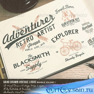 21 Hand Drawn Vintage Logos Bundle Volume 1 - 7781741