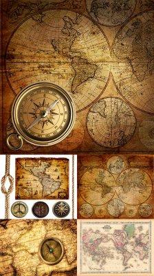 Старинные географические карты, канат и компас
