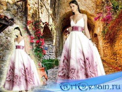 Шаблон psd женский - В прекрасном вечернем платье с цветочками