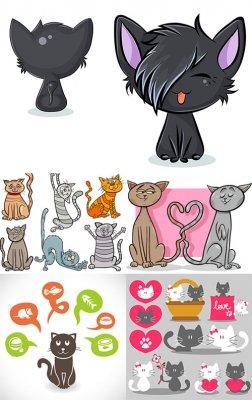 Смешные коты в векторе
