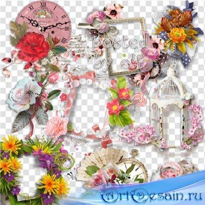 Клипарт PNG - Цветочные рамки и композиции 2