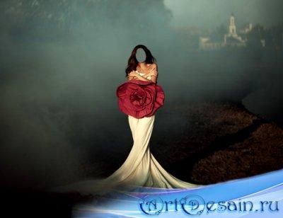 Шаблон для фотошоп - Брюнетка в ослепительном платье с розой