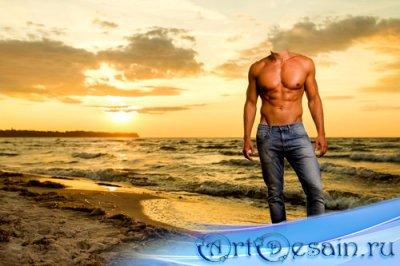Мужской шаблон - Фотосессия мускулистого пареня на шикарном закате