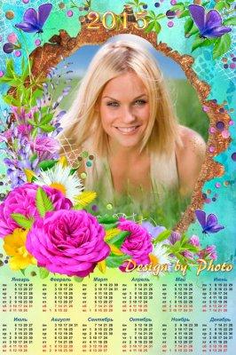 Цветочный календарь на 2015 год с вырезом для фото