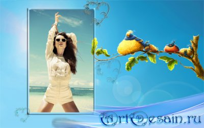 Фоторамка psd - Забавные птицы на ветке