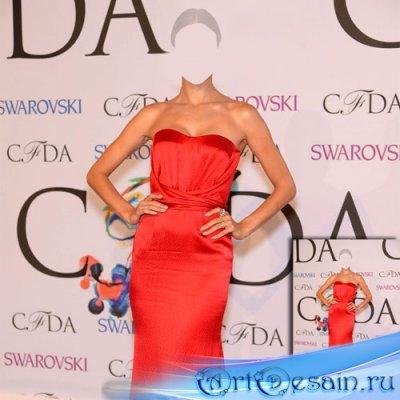Шаблон psd женский - Знаменитость в красном платье