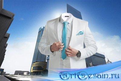 Шаблон psd - В красивом белом костюме