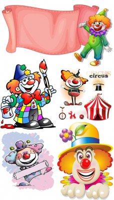 Очаровательные клоуны - векторный клипарт