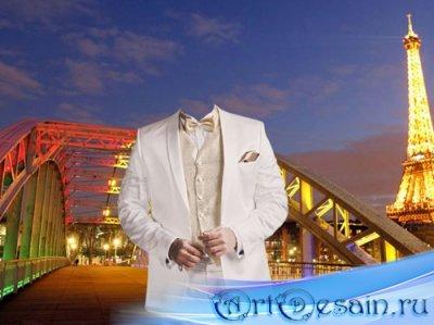 Шаблон psd мужской - В белом стильном костюме