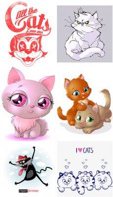 Смешные и игривые коты - векторный сборник