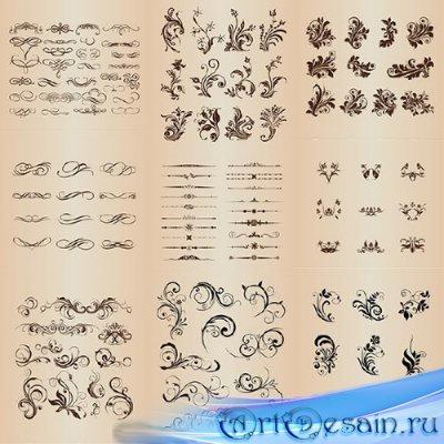 Подборка декоративных разделителей и узоров в векторе