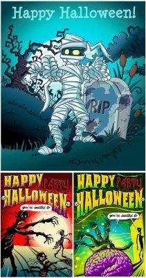 Хеллоуин флаеры - векторный клипарт