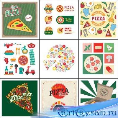 Аппетитная пицца и логотипы к ней в векторе